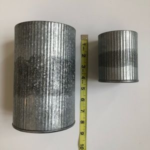 Pottery Barn Accents - Pottery Barn corrugated metal vessels • set of 2